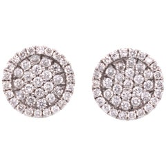 Diamond-Paved in White Gold Optical Illusion Diamond Halo Stud Earrings