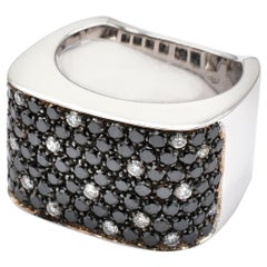 Diamond Paveè Black and White Gold Square Ring Made in Italy