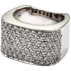 Diamond Paveè White Gold Square Ring Made in Italy