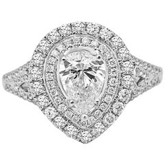 Diamond Pear 1.01 Carat Double Halo White Gold Bridal Engagement Cocktail Ring