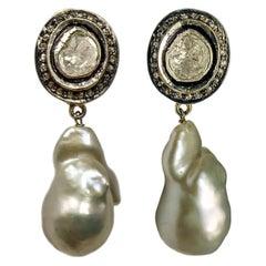 Maharaja 1.50 Carats Fancy cut Diamond Dangling Earrings