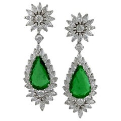 Diamond Pear Emerald Drop Earrings