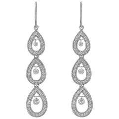 Diamond Pear-Shaped Chain Drop Earrings
