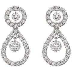 Diamond Pear-Shaped Short Drop Earrings