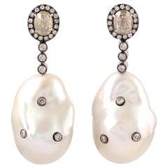 Diamond Pearl 18 Karat Gold Earrings
