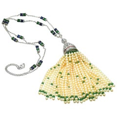 Diamond, Pearl, and Emerald Sautoir