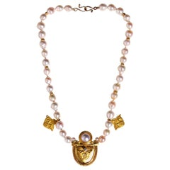 Diamond Pearl and Gold Necklace