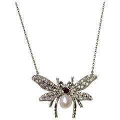 Diamond Pearl and Rubies Bumblebee Necklace in Platinum