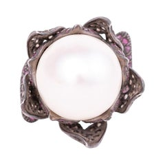 Diamond, Pearl, and Ruby Cocktail Flower Ring in Art-Deco Style