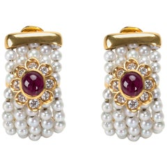 Diamond, Pearl and Ruby Earrings in 18 Karat Yellow Gold 1.8 Carat