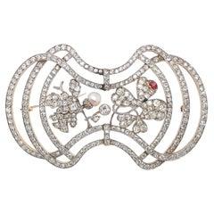 Diamond Pearl and Ruby Oak Leaf and Trefoil Clover Brooch, Art Nouveau, ca 1910s