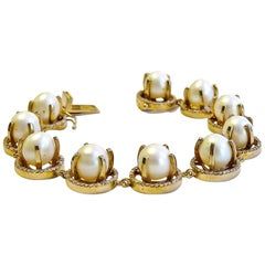 Diamond Pearl Bracelet 14 Karat Gold on St. Silver