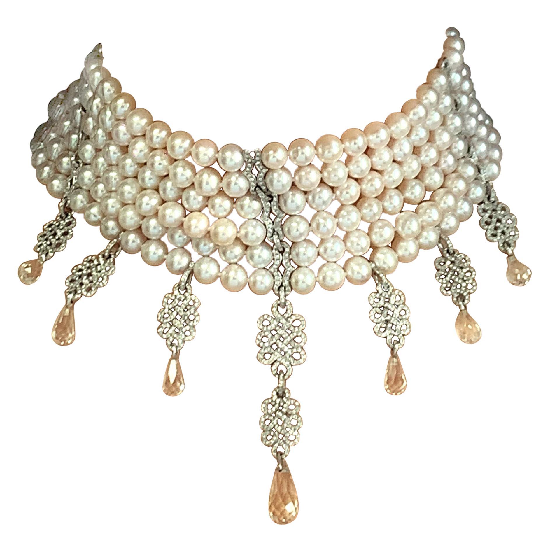 Diamond Pearl Choker Earrings Set