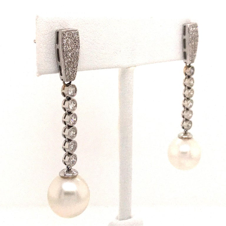 Diamond Pearl Drop Earrings 1.50 Carat 18 Karat White Gold In New Condition For Sale In New York, NY