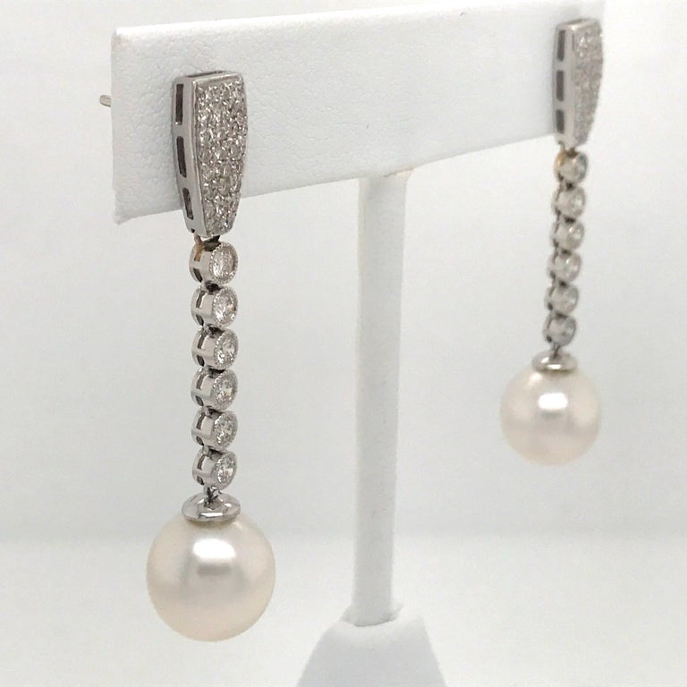 Women's Diamond Pearl Drop Earrings 1.50 Carat 18 Karat White Gold For Sale