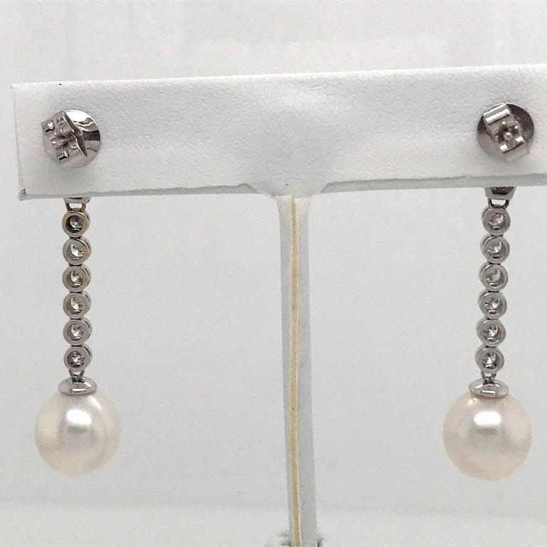Diamond Pearl Drop Earrings 1.50 Carat 18 Karat White Gold For Sale 3