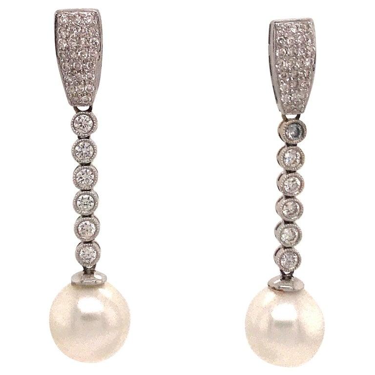 Diamond Pearl Drop Earrings 1.50 Carat 18 Karat White Gold For Sale