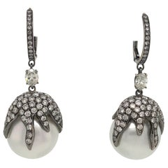 Diamond Pearl Drop Earrings 2.52 Carat 18 Karat Black Rhodium