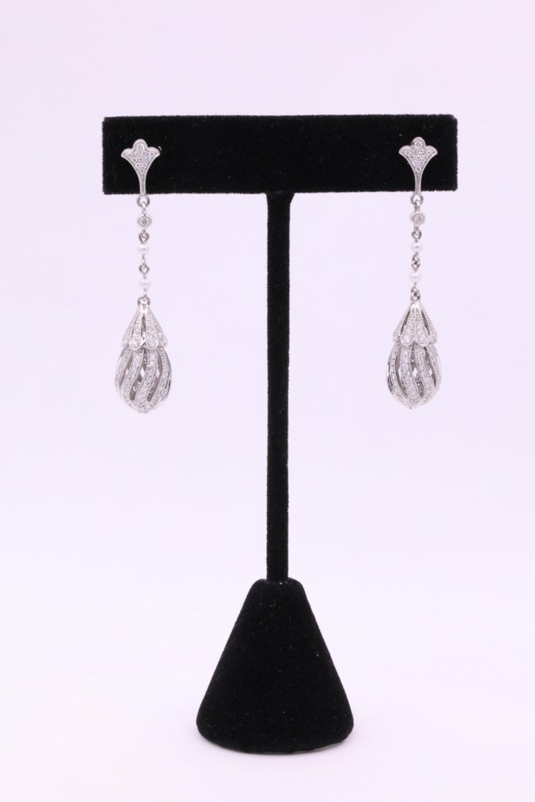 Art Deco Diamond Pearl Drop Earrings 2.71 Carat Platinum For Sale