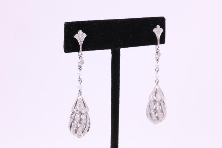 Diamond Pearl Drop Earrings 2.71 Carat Platinum For Sale 1