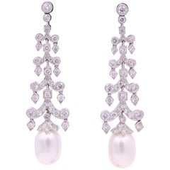 Diamond Pearl Drop Earrings 3.10 Carat Platinum