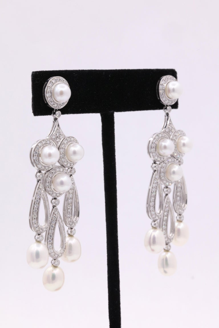 Art Deco Diamond Pearl Drop Chandelier Earrings 3.13 Carat Platinum For Sale
