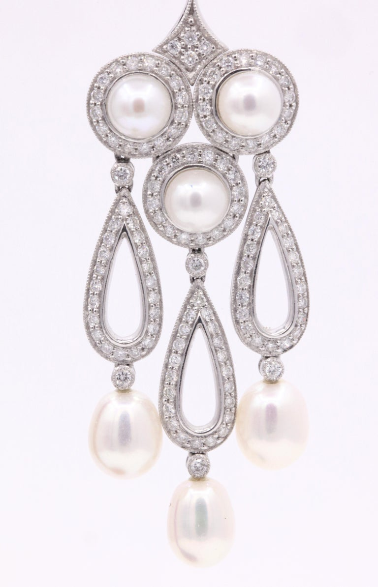 Round Cut Diamond Pearl Drop Chandelier Earrings 3.13 Carat Platinum For Sale