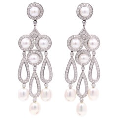 Diamond Pearl Drop Chandelier Earrings 3.13 Carat Platinum