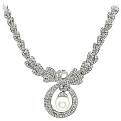 Diamond Pearl Drop White Gold Necklace