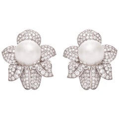 Diamond Clip-On Pearl Earrings