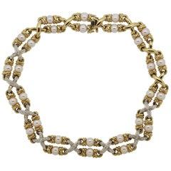 Diamond Pearl Gold Choker Necklace