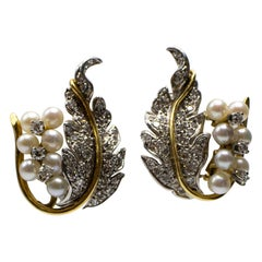 Diamond Pearl Grape and Leaf 18 Karat White and Yellow Gold Earclip Earrings