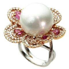 Diamond Pearl Pink Sapphire White and Rose Gold Flower Ring