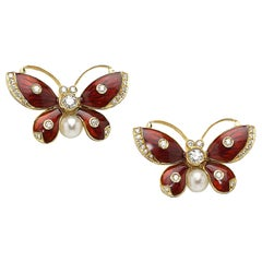 Diamond, Pearl, Red Enamel and Gold Butterfly Earrings