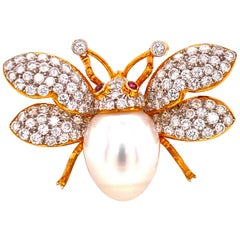 Diamond Pearl Ruby 18 Karat Yellow Gold Bumble Bee Pin Brooch Pendant