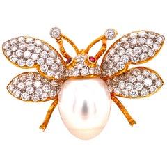 Diamond Pearl Ruby 18 Karat Yellow Gold Bumble Bee Pin Brooch Pendant