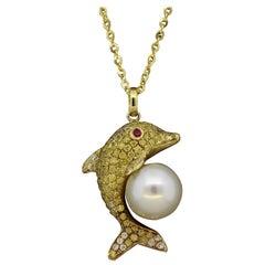 Diamond Pearl Ruby Gold Dolphin Pendant