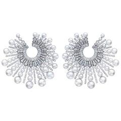 Diamond Pearl Spoke 18 Karat Incredible Earrings