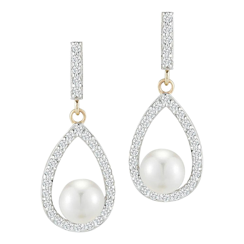 Diamond Pearl Tear Drop Earring