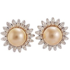 Diamond Pearl White Gold Earrings