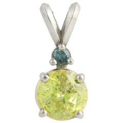 Diamond Pendant, 14 Karat Gold Fancy Yellow Solitaire Blue EGL Cert 1.05 Carat