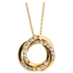 Diamond Pendant and Chain in 18K Rose Gold