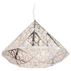 Diamond Pendant Lamp, Big, Chrome Finish, Arabesque Style, Italy