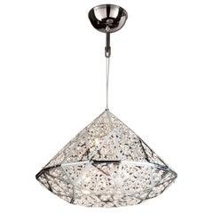 Diamond Pendant Lamp, Medium 1, Chrome Finish, Arabesque Style, Italy