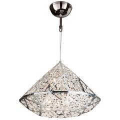 Diamond Pendant Lamp, Medium 2, Chrome Finish, Arabesque Style, Italy