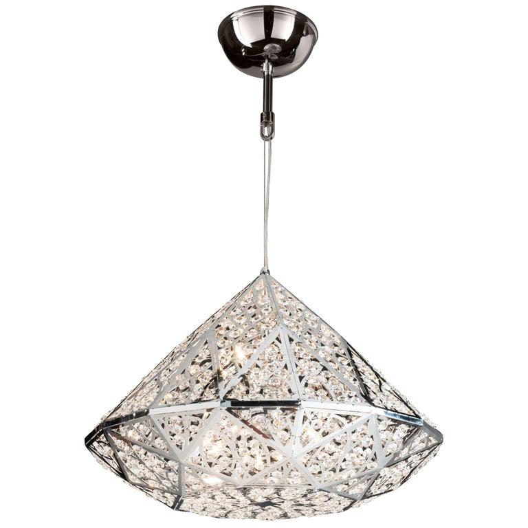 Diamond Pendant Lamp, Medium 2, Chrome Finish, Arabesque Style, Italy For Sale
