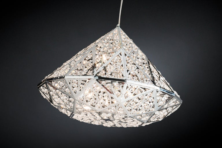 Modern Diamond Pendant Lamp, Medium 2, Chrome Finish, Arabesque Style, Italy For Sale