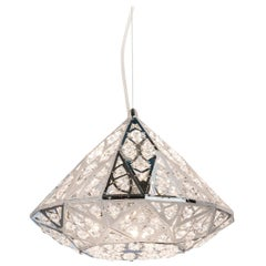 Diamond Pendant Lamp, Small Chrome Finish, Arabesque Style, Italy