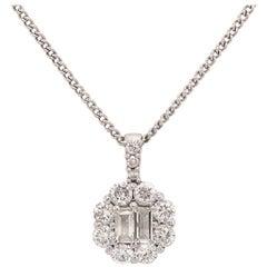 Diamond Pendant Necklace 18 Karat White Gold