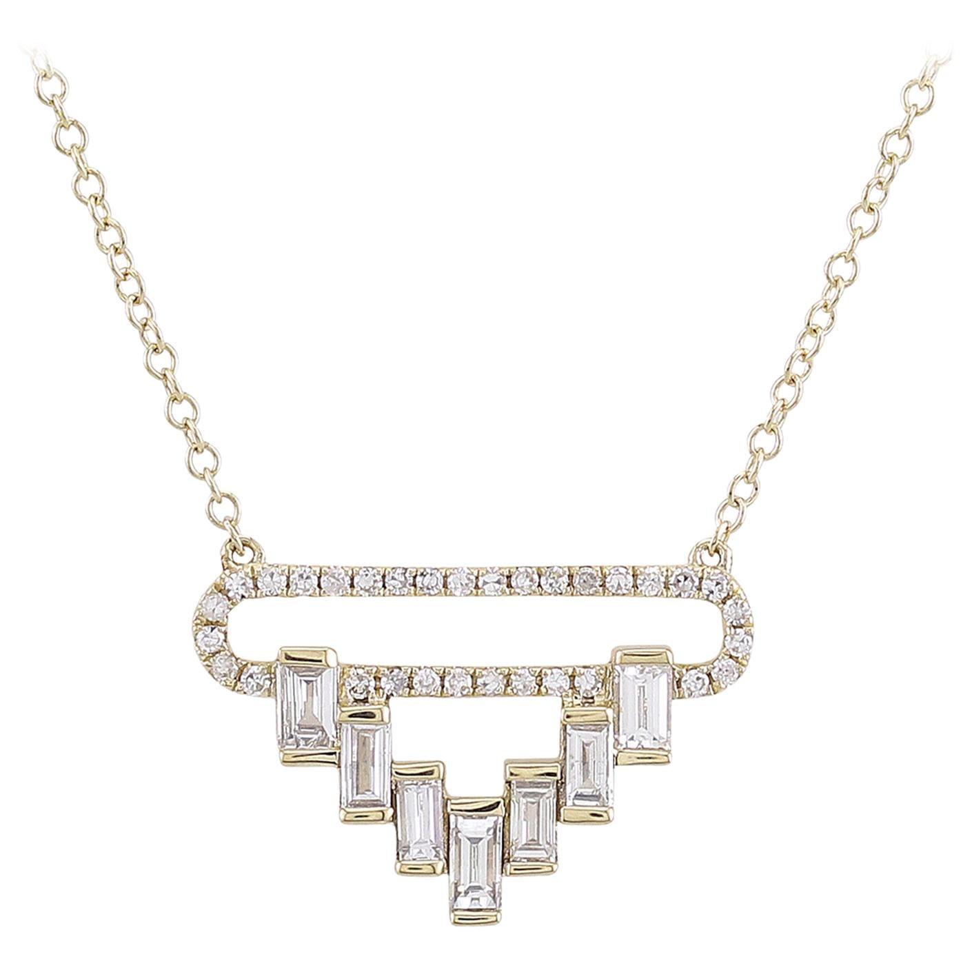 14 Karat Yellow Gold Baguette Diamond Pendant Necklace